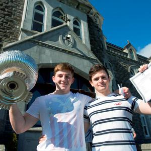 12/8/15 REPRO FREE Success all around for Cistercian College Leaving Cert students. The Roscrea College comes away with great results. Pictured are Paddy McKeon, Naas and Jack Buckley, Nenagh. Pic Sean Curtin Fusionshooters.