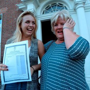 12 Aug 2015: Clare O'Brien, 18, from Dunshaughlin, with her mother Una shedding a tear, after receiving her Leaving Cert results (and 505 points). Loreto College, St. Stephen's Green, Dublin. Picture: Caroline Quinn