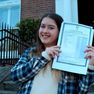 12 Aug 2015: Hayley Briody, 17, from Drumree, Co. Meath, with her Leaving Cert results (595 points). Loreto College, St. Stephen's Green, Dublin. Picture: Caroline Quinn