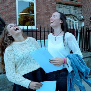 12 Aug 2015: Ellen Kelly, left, 19, from Ranelagh, celebrates with Anna Fitzpatrick, 19, from Navan road, after receiving their Leaving Cert results. Loreto College, St. Stephen's Green, Dublin. Picture: Caroline Quinn
