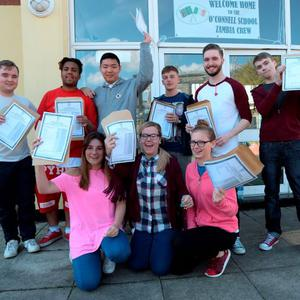 12 Aug 2015: Students after receiving their Leaving Cert results. O'Connells School, North Richmond Street, Dublin. Picture: Caroline Quinn