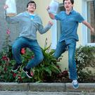 Adam Atouani, 17, left, and Sean Stevenson, 17, both from Dublin 1, celebrate after receiving their Leaving Cert results. O'Connells School, North Richmond Street, Dublin. Picture: Caroline Quinn