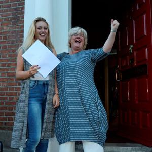 12 Aug 2015: Clare O'Brien, 18, from Dunshaughlin, celebrates with her mother Una after receiving her Leaving Cert results (and 505 points). Loreto College, St. Stephen's Green, Dublin. Picture: Caroline Quinn