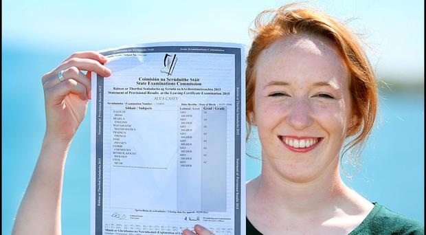 Alva Casey (pictured) who got 625 Points (Eight A1s) in her Leaving certificate along with her twin sister Niamh who got 595 Points (Three A1s, Three A2s, One B1 and One B2) al Loreto Dalkey. Pic Steve Humphreys