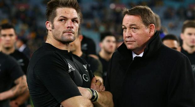 Richie McCaw and head coach Steve Hansen watch Australia's celebrations last week
