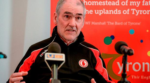 Tyrone boss Mickey Harte remained tight-lipped last night when asked his thoughts on the proposed eight-week ban handed down to Tiernan McCann by the GAA's Central Competitions Control Committee