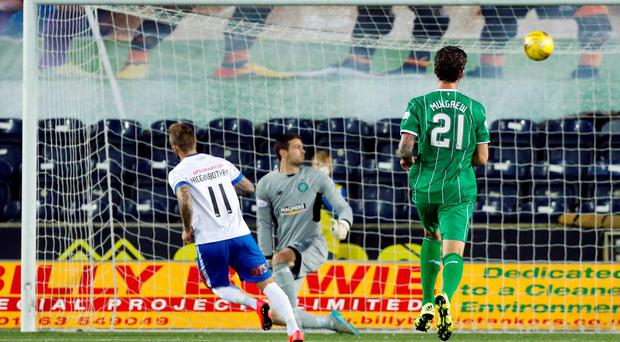Kilmarnock's Kallum Higginbotham equalises late on from the penalty spot at Rugby Park