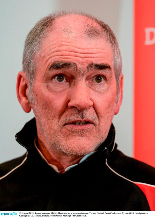 Tyrone manager Mickey Harte during a press conference. Photo: Oliver McVeigh / Sportsfile