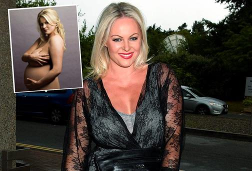 Amanda Brunker posed nude while pregnant. Picture: VIP Magazine