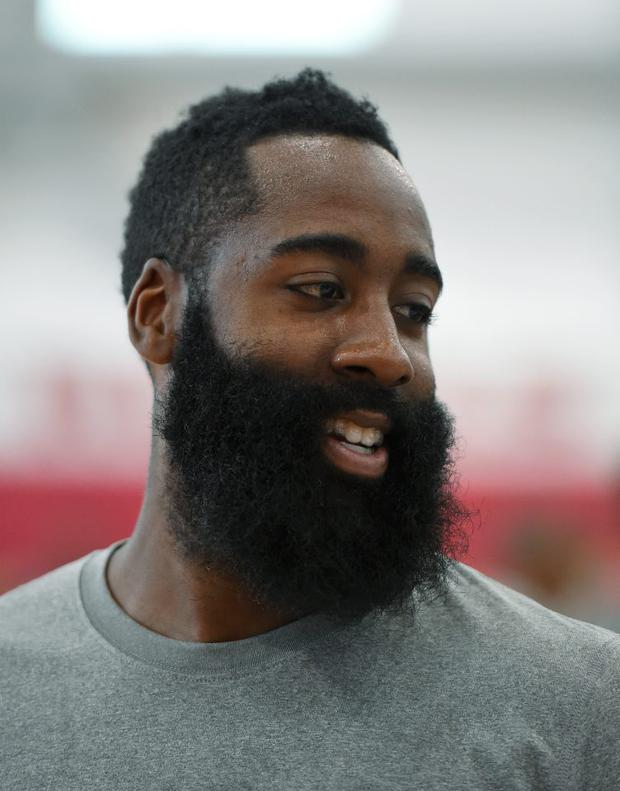 James Harden #32 of the 2015 USA Basketball Men's National Team smiles during a practice session at the Mendenhall Center on August 11, 2015 in Las Vegas, Nevada. (Photo by Ethan Miller/Getty Images)