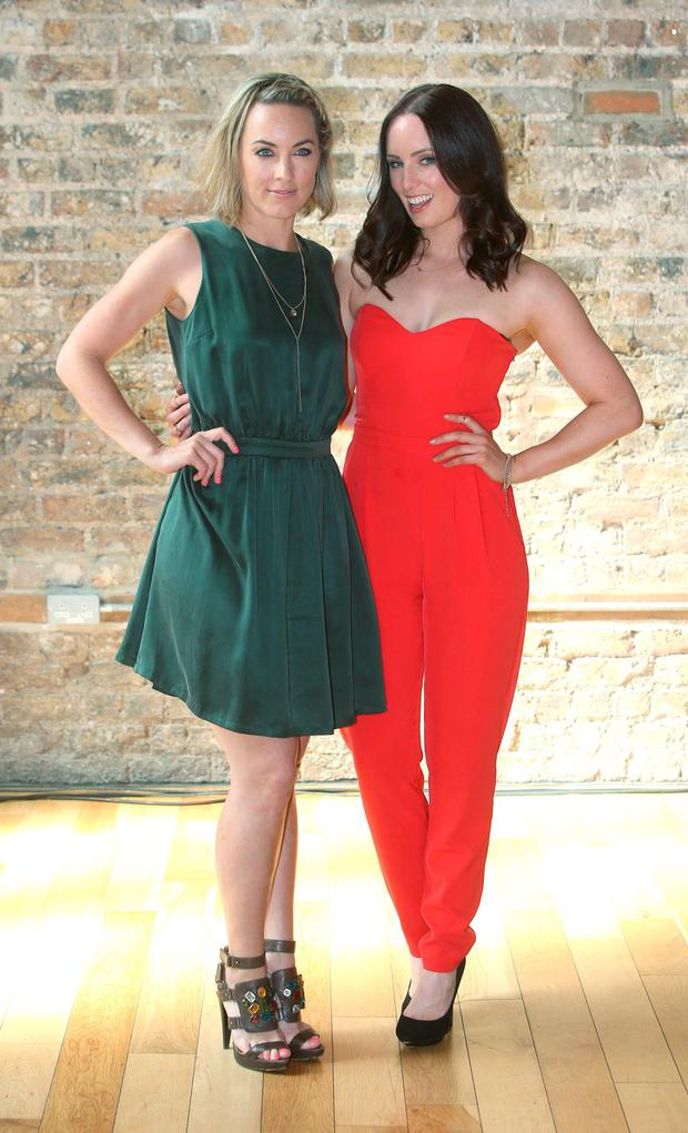Kathryn Thomas, left and Aoibheann McCaul at the RTE new season launch at the Smock Alley Theatre. Picture credit; Damien Eagers