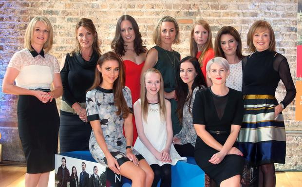 Back row from l to r, are Claire Byrne, aisling O'Neill, Aoibheann McGarrity, Sophie Robinson, Mairead Farrell and Mary Kennedy. Front row, Una Foden, beth McNulty, kelly Thornton and Sinead Kennedy at the RTE new season launch at the Smock Alley Theatre. Picture credit; Damien Eagers
