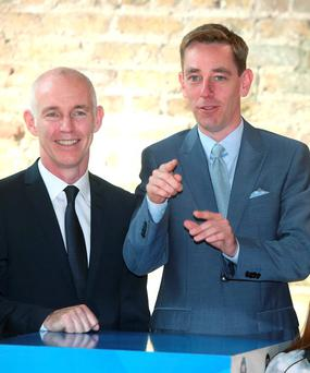 Ryan Tubridy and Ray D'Arcy at the RTE new season launch at the Smock Alley Theatre. Picture credit; Damien Eagers