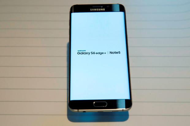 A Samsung Galaxy S6 Edge+ is seen at the product's launch event in New York