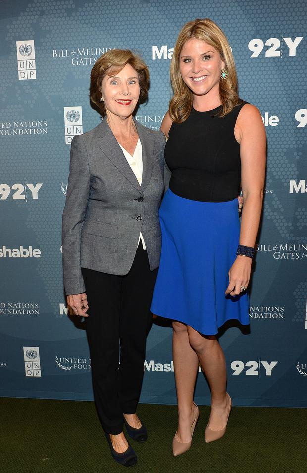 Former First Lady of the United States Laura Bush (L) and daughter author Jenna Bush Hager attend the 2014 Social Good Summit at 92Y on September 22, 2014 in New York City.