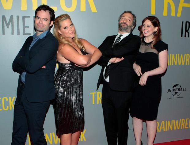 Actors Bill Hader,Amy Schumer Director Judd Apatow with Actors and Vanessa Bayer on the red carpet tonight at The Irish Premiere screening of Trainwreck at The Savoy Cinema Dublin Picture:Brian McEvoy