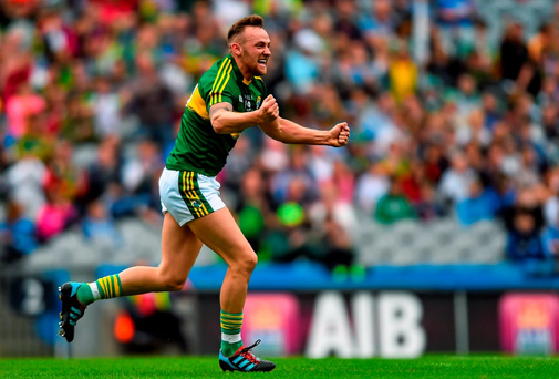 Barry John Keane celebrates scoring one of Kerry's seven goals against Kildare in the All-Ireland quarter-final.