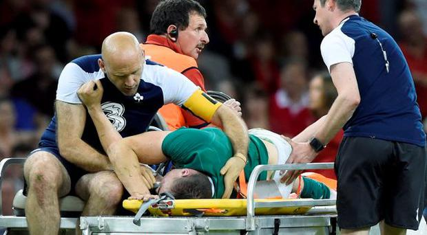 Tommy O'Donnell is stretchered off the Millennium Park pitch last Saturday. The Munster man will have endured a traumatic week coming to terms with his injury