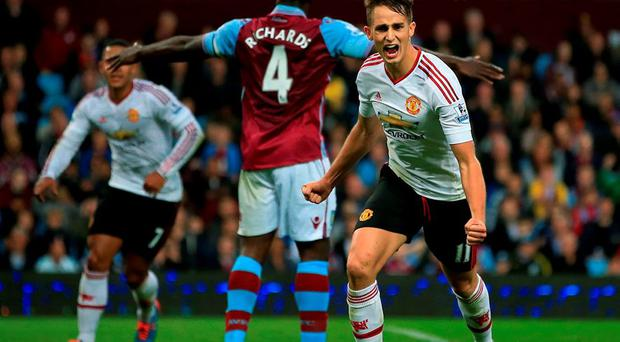 Manchester United's Adnan Januzaj celebrates scoring the only goal of the game