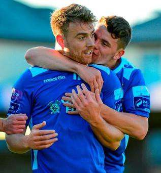 Vinny Faherty is congratulated by Dean Clark after scoring Limerick's first goal