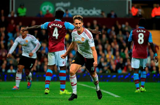 Adnan Januzaj celebrates his goal against Aston Villa