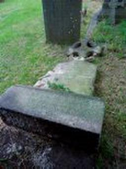 Some of the damaged monuments in the cemetery