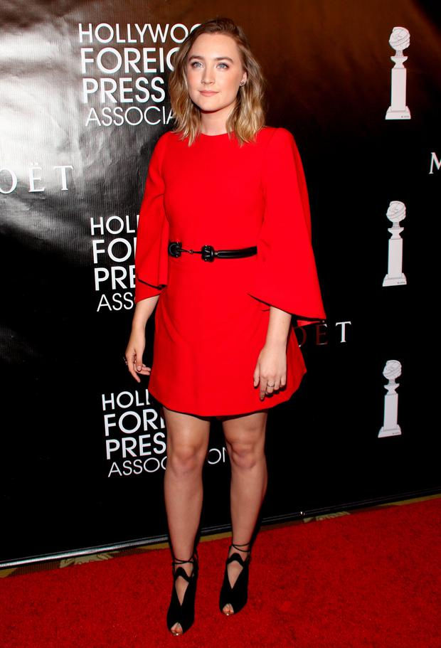 Saoirse Ronan arrives at The Hollywood Foreign Press Association's Annual Grants Banquet at the Beverly Wilshire hotel
