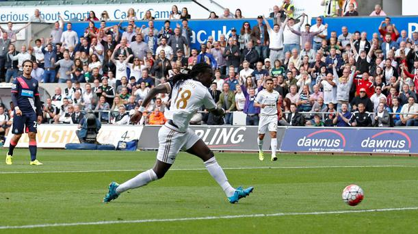 Bafetimbi Gomis scores the first-half goal against Newcastle United