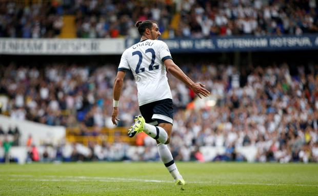 Nacer Chadli celebrates scoring the second goal for Tottenham