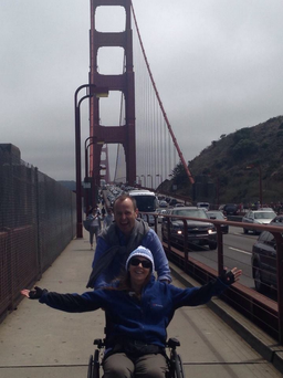 Berkeley survivor Clodagh Cogley with her father on the Golden Gate Bridge in San Francisco