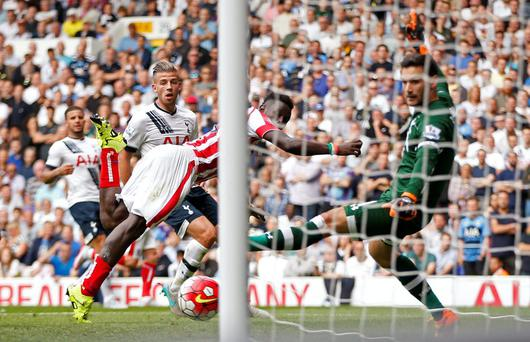 Mame Biram Diouf scores the second goal for Stoke