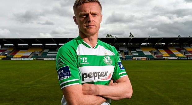 Damien Duff poses for a portrait at Tallaght Stadium