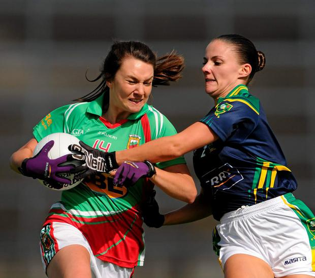Mayo's Niamh Kelly in action against Gina Crowley of Kerry in the TG4 Ladies Football All-Ireland Senior Championship, Quarter-Final,