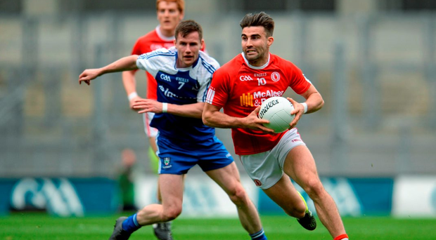 Tiernan McCann in action against Monaghan's Karl O'Connell. McCann's theatrics are being used as a jumping-off point for blackening Tyrone's name