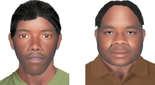 E-fit images of two suspects as a £10,000 reward is being offered by police to help catch two burglars who threatened an elderly couple with knives. Photo: Metropolitan Police/PA Wire
