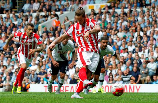 Stoke City's Marko Arnautovic scores his side's first goal