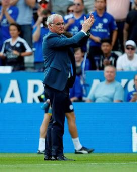 Leicester City manager Claudio Ranieri applauds the fans before the Premier League match at the King Power Stadium, Leicester