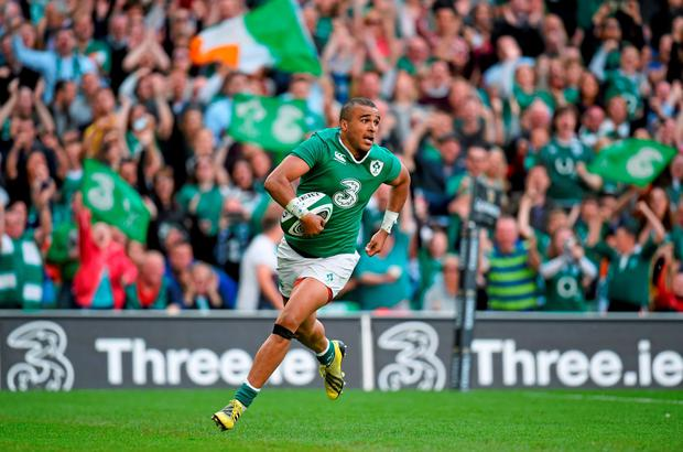 Ireland's Simon Zebo goes over for his side's third try during the victory over Scotland in yesterday's Rugby World Cup warm-up match at the Aviva Stadium Photo: Stephen McCarthy