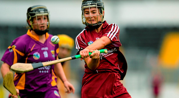 A concentrated Aoife Donohue in action for Galway