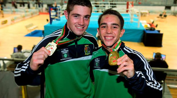 Joe Ward and Michael Conlan shows off their gold medals following their exploits at the European Championships