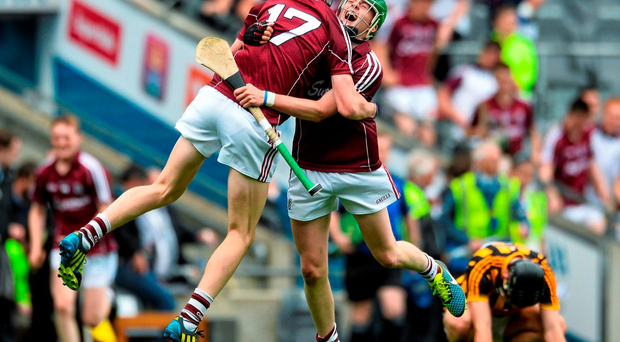 Jack Kenny and Cianan Fahy, Galway, celebrate emphatically at the end of the game