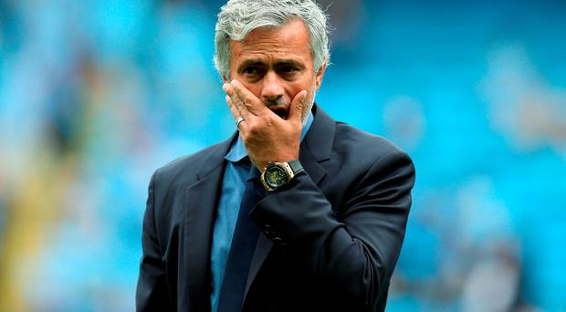 Chelsea manager Jose Mourinho looks on