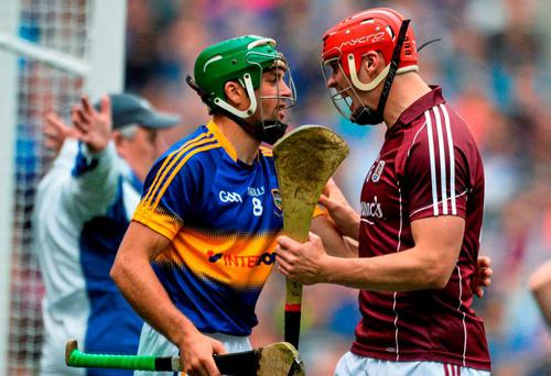 Iarla Tannion, Galway, and James Woodlock, Tipperary. GAA Hurling All-Ireland Senior Championship, Semi-Final, Tipperary v Galway. Croke Park, Dublin. Picture credit: David Maher / SPORTSFILE