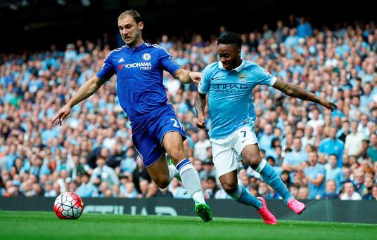 Chelsea's Branislav Ivanovic in action with Manchester City's Raheem Sterling Action Images via Reuters / Carl Recine