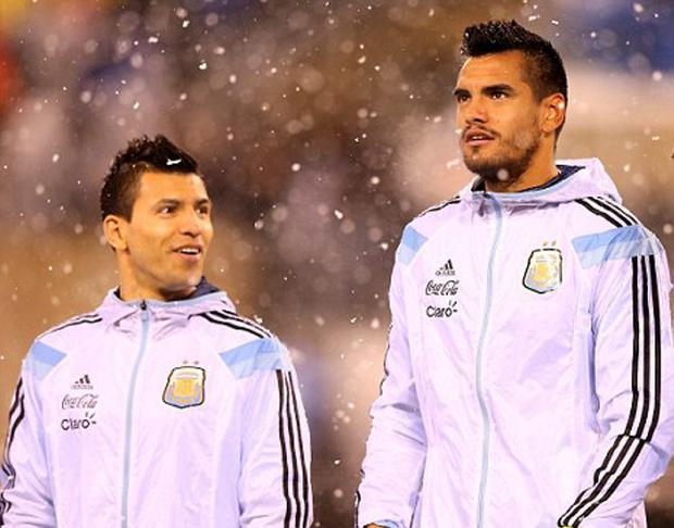 Sergio Aguero and Sergio Romero pictured while on international duty