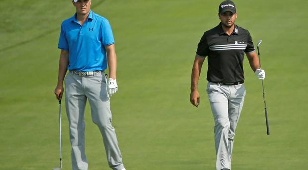 Jordan Spieth, left, and Jason Day during the fourth round of the PGA Championship