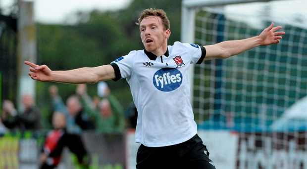 Dundalk's David McMillan celebrates after scoring his side's second goal against St Patrick's Athletic at Oriel Park, Dundalk