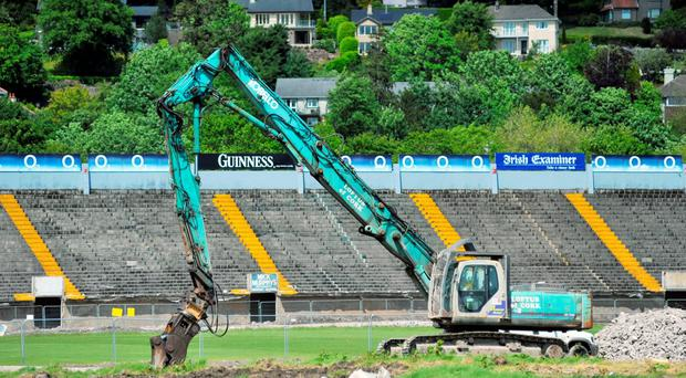 The torn-down main stand during the redevelopment of Páirc Uí Chaoimh, Cork. Photo: Provision
