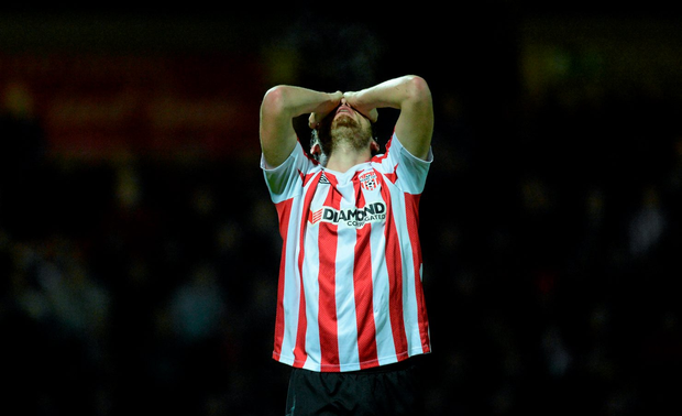 Derry's Philip Lowry was sent off in the second half