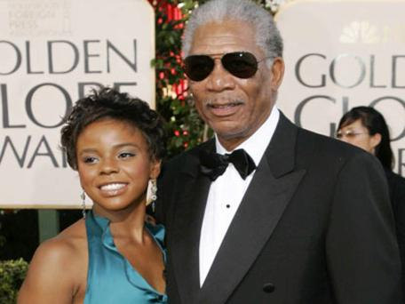 Morgan Freeman with his step-grand daughter E'Dena Hines, who was stabbed to death in the street in Manhattan, New York, at the weekend
